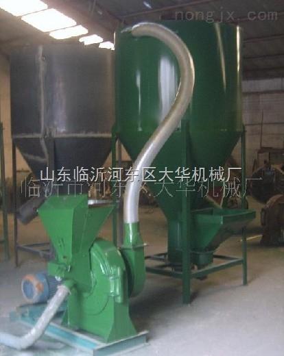 高产量自吸上料饲料粉碎搅拌机成套设备