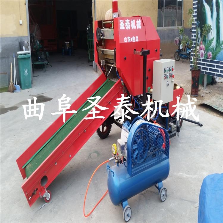 皇竹草青贮打包机,青贮饲草打捆包膜机
