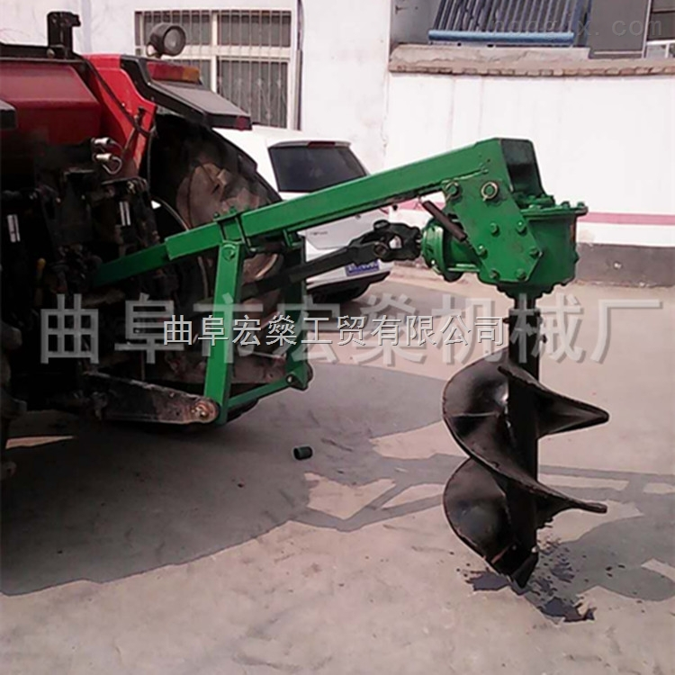 拖拉机带挖坑机 小马力四轮植树钻坑机